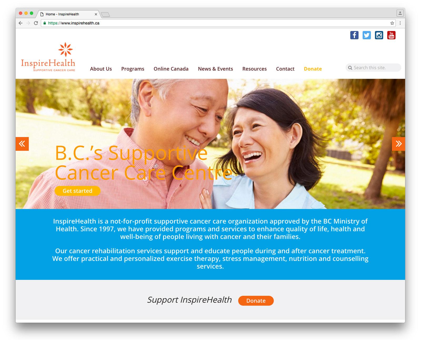 health services website design sample page