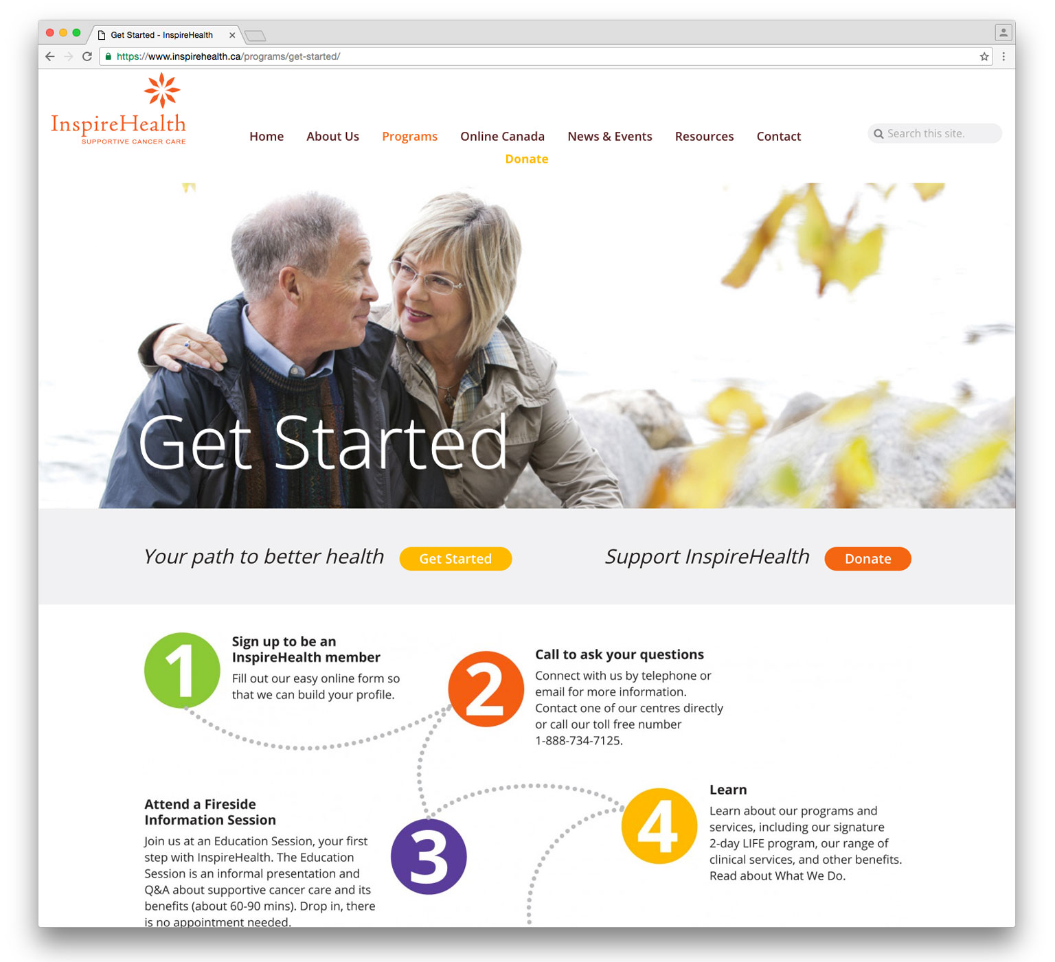 page from health services website design